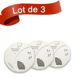 Lot de 3 combi détecteur de fumée et détecteur de monoxyde de carbone First Alert SCO5