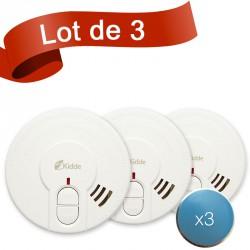 Lot de 3 détecteurs de fumée Kidde 29HLD-FR avec système de fixation aimanté