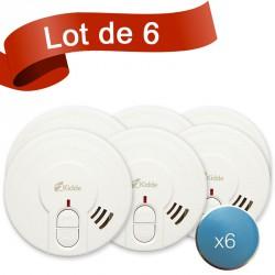 Lot de 6 détecteurs de fumée Kidde 29HLD-FR avec système de fixation aimanté