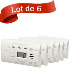 Lot de 6 détecteurs de Monoxyde de Carbone Kidde 10LLDCO