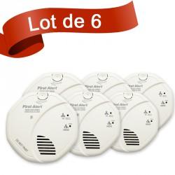 Lot de 6 combi détecteur de fumée et détecteur de monoxyde de carbone First Alert SCO5