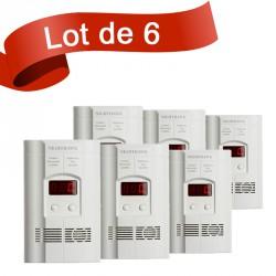 Lot de 6 combi détecteur de Monoxyde de Carbone et de Gaz Kidde 900-0113