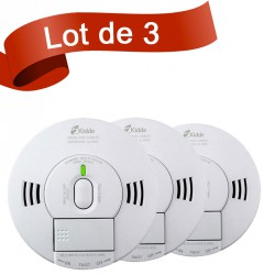 Lot de 3 combi détecteur de fumée et détecteur de monoxyde de carbone Kidde 10DS