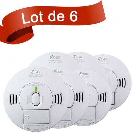 Lot de 6 combi détecteur de fumée et détecteur de monoxyde de carbone Kidde 10DS