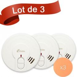 Lot de 3 détecteurs de fumée Kidde 29HLD-FR avec système de fixation autocollant
