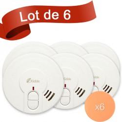 Lot de 6 détecteurs de fumée Kidde 29HLD-FR avec système de fixation autocollant