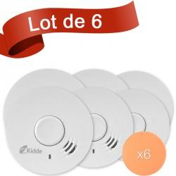 Lot de 6 détecteurs de fumée Kidde 10Y29 avec autocollant de fixation
