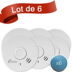 Lot de 6 détecteurs de fumée Kidde 10Y29 avec système de fixation aimanté
